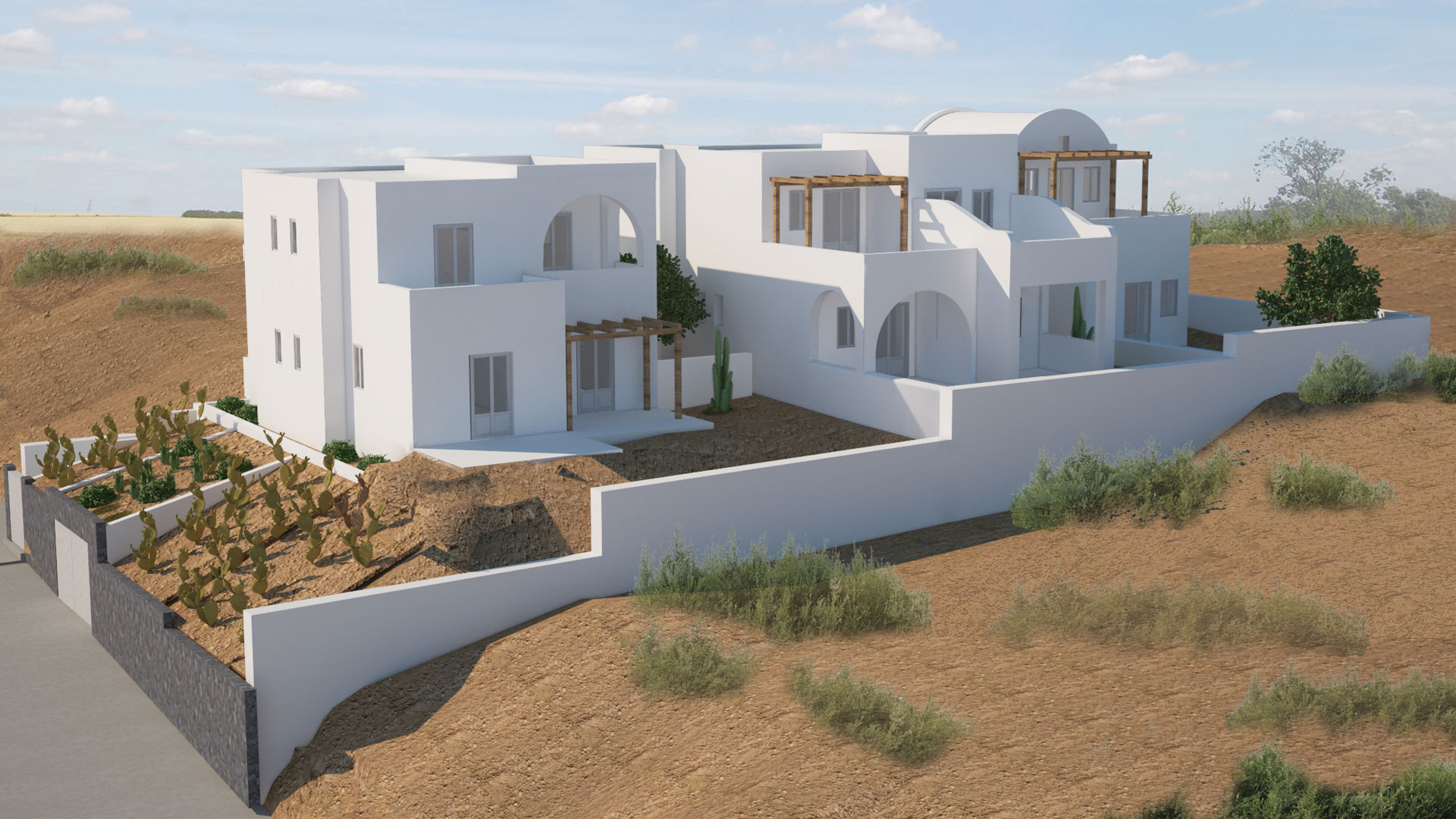 Study & Construction of a Housing Complex, Mesaria, Santorini